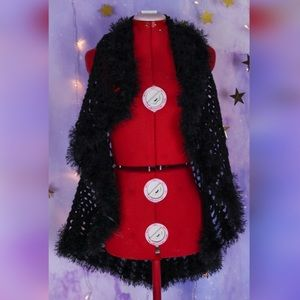 Black furry boa crocheted bohemian vest
